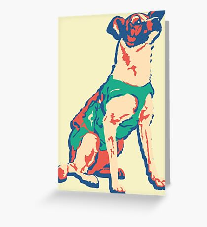 Laika Space Dog Vector Russian Propaganda Pup Retro Old-Timey Vintage Greeting Card