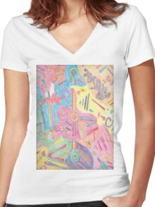 Ethnic shapes & symbols Women's Fitted V-Neck T-Shirt