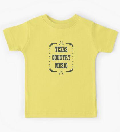 Texas Country Music (black) Kids Tee