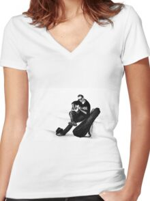 Guitarist playing on the street. Drawing illustration Women's Fitted V-Neck T-Shirt
