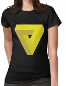 Triangle Illusion Yellow Womens Fitted T-Shirt