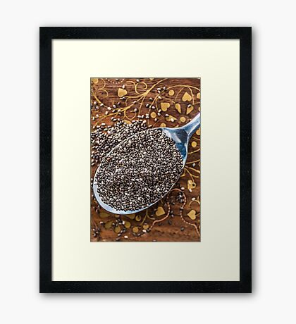 Chia seeds in spoon Framed Print