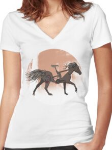 Bicycle Horse Women's Fitted V-Neck T-Shirt