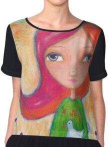Caring: A Girl and a Bird Chiffon Top
