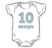 Baby learns Tagalog - number ten blue One Piece - Short Sleeve