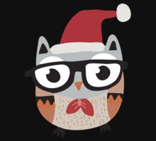 Christmas Owl With Glasses and Bow Tie Kids Tee