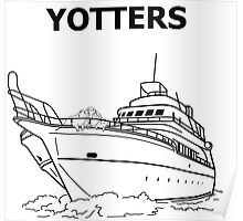 Yotters, Otters on a boat, in Black Poster