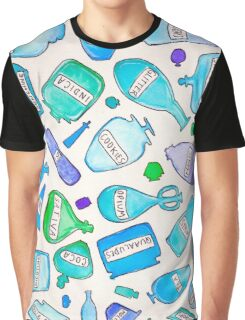 Blue bottles / pharmacy quirky funny pills food cookies party favors magic trippy psychedelic Graphic T-Shirt