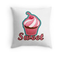 Sweet Pink Cupcake Design Throw Pillow