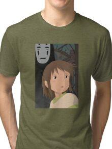 """Don't be such a scaredy cat, Chihiro"" - Spirited Away Art Tri-blend T-Shirt"