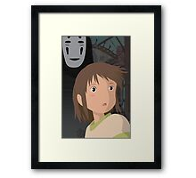 """Don't be such a scaredy cat, Chihiro"" - Spirited Away Art Framed Print"