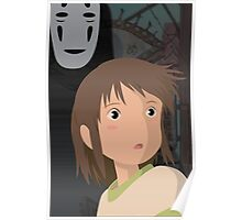 """Don't be such a scaredy cat, Chihiro"" - Spirited Away Art Poster"