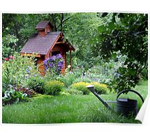 Garden Shed and Perennial Border in July Poster