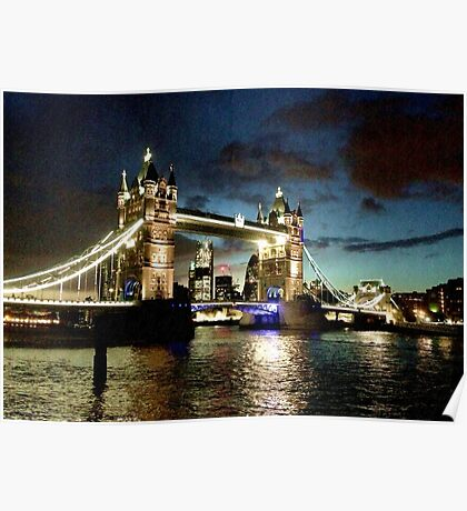 London Tower Bridge Rain Poster