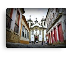 Colonial square in the historic town center Canvas Print