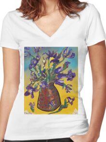 Floodwood Flowers Women's Fitted V-Neck T-Shirt