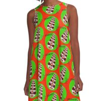 Cheers Holiday Fun Stick Figure Red Flower Design A-Line Dress