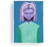 Alien girl / headphones trippy music fantasy art Canvas Print