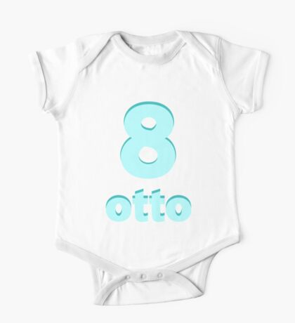 Baby learns Italian - number eight blue One Piece - Short Sleeve