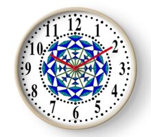 Harmonious Two Tone Blue Flowers Clock