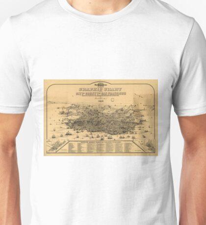 Vintage Pictorial Map of San Francisco (1875) Unisex T-Shirt