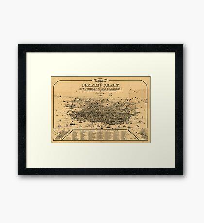 Vintage Pictorial Map of San Francisco (1875) Framed Print