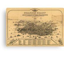 Vintage Pictorial Map of San Francisco (1875) Canvas Print