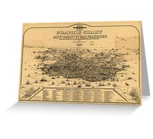 Vintage Pictorial Map of San Francisco (1875) Greeting Card