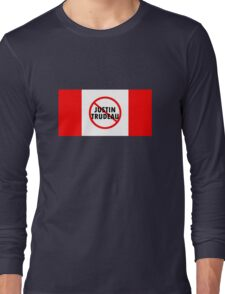 Canada Flag No Justin Trudeau Carbon Tax Protest Long Sleeve T-Shirt