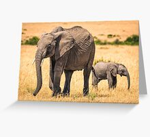 Mother Elephant and Child - Masai Mara, Kenya Greeting Card