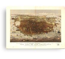 Vintage Pictorial Map of San Francisco (1878)  Canvas Print