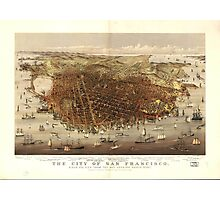 Vintage Pictorial Map of San Francisco (1878)  Photographic Print