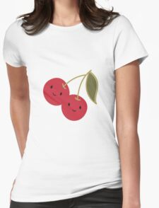 Cute Kawaii Cherries Womens Fitted T-Shirt