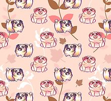 Pink Leaf Pug Pattern by SaradaBoru