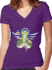 Chibi Palutena Vector Women's Fitted V-Neck T-Shirt