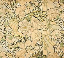 'Peonies' by Alphonse Mucha (Reproduction) by Roz Barron Abellera