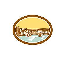 Arch Bridge Ponte Vecchio Florence Woodcut Photographic Print
