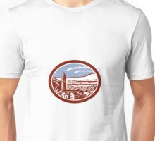 Church Belfry Tower Tuscany Italy Woodcut Unisex T-Shirt