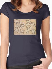 'Cranes' by Katsushika Hokusai (Reproduction) Women's Fitted Scoop T-Shirt
