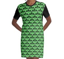Nuke Green & Black Repeating Pattern Graphic T-Shirt Dress