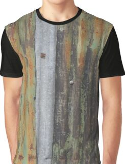 corrugated rusty metal fence paint texture Graphic T-Shirt