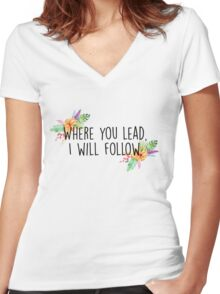 Gilmore Girls - Where you lead Women's Fitted V-Neck T-Shirt