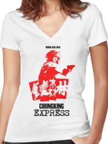 CHUNGKING EXPRESS - WONG KAR WAI - Women's Fitted V-Neck T-Shirt