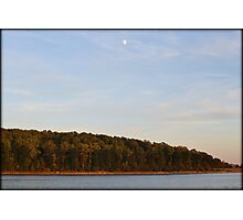 Autumn Sunset Moon Photographic Print