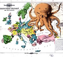 Vintage Political Cartoon Map of Europe (1877) by BravuraMedia