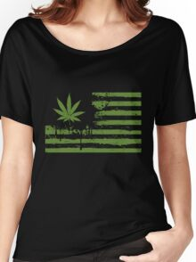 Distressed Flag - Weed Women's Relaxed Fit T-Shirt