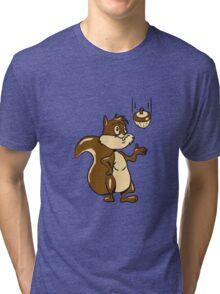 Eichhörmchen süss witzig lässig nuss  Tri-blend T-Shirt