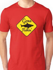 Gone Fishing yellow sign with a shark Unisex T-Shirt