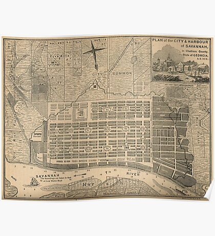 Vintage Map of Savannah Georgia (1818) Poster