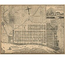 Vintage Map of Savannah Georgia (1818) Photographic Print